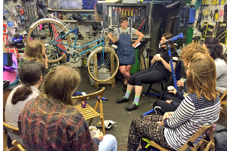 Theo gets to grips with bike mechanics at LBK's Women and Gender Variant night